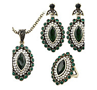 Jewelry Set AAA Cubic Zirconia Bridal Classic Green Casual 1set 1 Necklace 1 Pair of Earrings 1 Ring Wedding Gifts