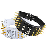 Cat / Dog Collar Adjustable/Retractable / Studded Rock / Music Black / White PU Leather