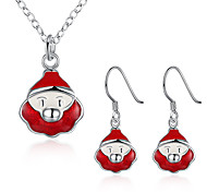 Cute Santa Claus Jewelry Sets NecklaceEarrings for Women Girls Aretes Wholesale Free Shipping Christmas Gifts Bijoux PCS924