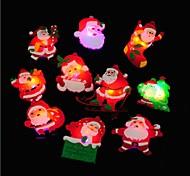 4PCS Christmas Gift LED Glowing Santa Snowman Deer Glow Flashing Cartoon Brooch Badge Toy Christmas Tree Luminous Decoration Ramdon Color