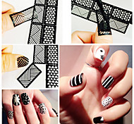 12 pcs New Hollow Out One Nail Art Prints Template Hollow Out Creative Diy Decals
