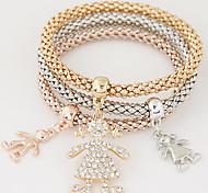 Women Fashion Simple Rhinestones Cute Girl Charm Bracelet Gift