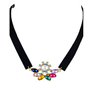 Fashion Colorful Rhinestone Black Choker Necklaces for Women