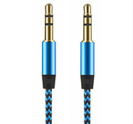 aux funivia 3.5mm a 3.5mm cavo audio in nylon Kabel maschio a maschio oro 1m placcato spina del cavo aux per auto iphone Samsung