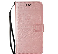 For Samsung Galaxy Note5 Note4 Note3 Case Cover Elephant Pattern Embossed Model Table PU Leather Light Card Stent Lanyard Holster