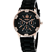 XU Women Fashion The Silicone Diamonds Watch