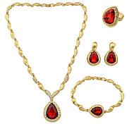 Schmuckset Strass Rot 1 Halskette 1 Paar Ohrringe 1 Armreif 1 Ring Für Hochzeit Party Alltag Normal 1 Set Hochzeitsgeschenke