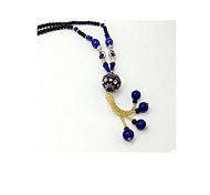 Women's Long Necklace Glass Basic Fashion White Blue Dark Red Jewelry Daily Casual 1pc