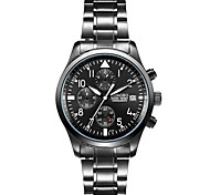 Men's Sport Watch / Dress Watch Quartz Water Resistant/Water Proof / Noctilucent Stainless Steel Band Casual Black Brand