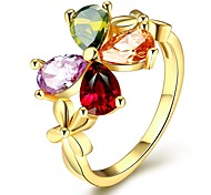 18K/Rose Gold Plated Rings for Women High Quality Clover Shaped with Multi Color Crystal Rings New Fashion Jewelry