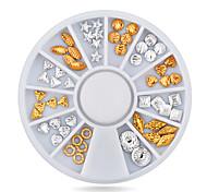 1pcs  Metal Nail Decoration Rhinestone Wheel Gold Silver Mixed Sizes Shape Alloy Nail Studs