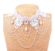 Women's Statement Necklaces Pearl Lace Geometric Dangling Style Bridal White Jewelry Party 1pc