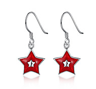 Five-pointed Star Dangle Earrings for Women Silver Plated Earrings Fashion Brincos Christmas Gift New Arrival E834
