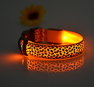 Cat / Dog Collar LED Lights / Adjustable/Retractable / Electronic/Electric / Rechargeable Leopard Yellow Nylon
