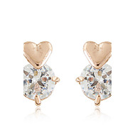 Stud Earrings Zircon Cubic Zirconia Alloy Fashion Heart Gold Silver Jewelry Daily Valentine 1 pair