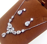 Women's Jewelry Set Pearl Zircon Cubic Zirconia Necklaces Earrings For Party Wedding Gifts