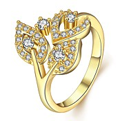 Ring AAA Cubic Zirconia Zircon Cubic Zirconia Alloy Leaf Gold Silver Rose Pink Jewelry Casual Valentine 1pc