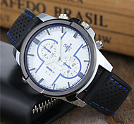 Men's Sport Watch Dress Watch Wrist watch Keychain Watch Quartz Silicone Band Cool Casual Black White Blue