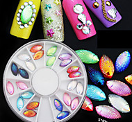 2 Color 3D Nail Art Tips Gems Crystal Glitter Rhinestone DIY Nail Decoration Whee