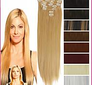 """22 """"/ 55см 120-130g 7pcs / комплект жаростойкий синтетические шиньоны клип в длинной прямой наращивания волос"""
