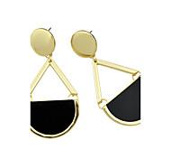 Latest Fashion Black Imitation Gemstone Big Drop Earrings