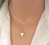 Женский Заявление ожерелья Геометрической формы Треугольной формы Сплав Мода Двойной слой бижутерия Бижутерия Назначение Для вечеринок