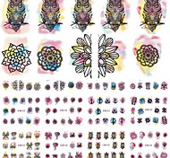 12 Designs Owl/Flower Watercolor Nail Stickers Beauty Nail Art Temporarily Watermark Nail Tips Decals DIY BN433-444