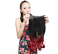 "Neitsi® 1pc 110g 22"" 3/4 Full Head 5clips Kanekalon Synthetic Hair Pieces Clip In/on Wavy Extensions T-Red Wine"