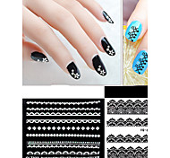 30 Pieces Of White Sticker Black Lace Nail Nails Stick Stick Black Lace