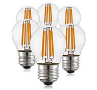 4W E26/E27 Lampadine LED a incandescenza G45 4 COB 400 lm Bianco caldo AC 220-240 V 6 pezzi