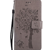 For Google Pixel XL Pixel PU Leather Material Cat and Tree Pattern Butterfly Phone Case