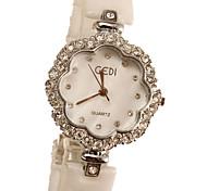 Women's Fashion Watch Simulated Diamond Watch Imitation Diamond Quartz Ceramic Band Ivory