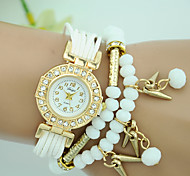 Women's Fashion Beaded Rivet Bracelet Watch Quartz