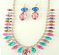 May Polly  Europe and the United States fashion Crystal Gemstone Earrings Necklace Set