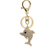 Cute Rhinestone dolphin car key metal hook buckle keychains