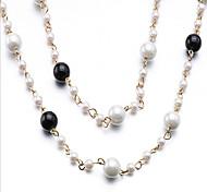 Mujer Gargantillas Perla Circular Plata Joyas Fiesta 1 Set 1 pieza