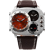 Men's Large Dial Multi Time Zone Compass Thermometer Sport Watch