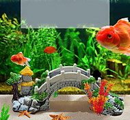 Aquarium Decoration Ornament Bridge Resin Gray