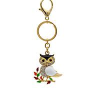 Creative personality branch owl diamond key buckle