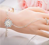 Bracelet Ring Bracelet Sterling Silver Flower Nature Gift Valentine Jewelry Gift Silver,1pc