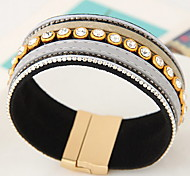 Women's Leather Bracelet Leather Simulated Diamond Gothic Punk Fashion Jewelry Black Gray Brown Jewelry 1pc
