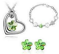 Gioielli 1 collana 1 paio di orecchini 1 bracciale Cristallo Feste Lega 1 Set Da donna Blu Verde Viola Rosa Regali di nozze
