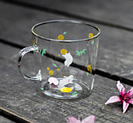 Transparent Cartoon Drinkware, 310 ml BPA Free Glass Tea Coffee Tea Cup