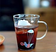 Transparent Cartoon Drinkware 400 ml BPA Free Glass Juice Milk Tea Cup