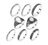 Ring Acrylic Party Daily Casual Jewelry Alloy Women Ring 1set Silver Europe Fashion Personality Beautiful 7pcs Rings