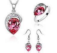 Jewelry Set Crystal Alloy Red Blue Party 1set 1 Necklace 1 Pair of Earrings Rings Wedding Gifts