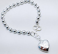 Armbänder Ketten- & Glieder-Armbänder Sterling Silber Herzform Modisch Schmuck Geschenk Silber,1 Stück
