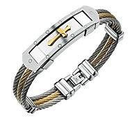 Браслеты Браслет цельное кольцо Титановая сталь Крестообразной формы Мода Для вечеринок День рождения Бижутерия Подарок Золотой,1шт