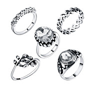 Ring Acrylic Party Daily Casual Jewelry Alloy Women Ring 1set Silver Europe Fashion Personality Beautiful 5pcs Rings