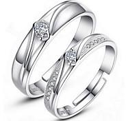Кольца Свадьба Для вечеринок Повседневные Бижутерия Серебрянное покрытие Кольца для пар Кольца на вторую фалангу Кольцо Обручальное кольцо